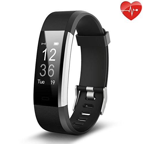 Fitness Tracker,Juboury Smart Bracelet mit Pulsmesser Herzfrequenzmesser,Aktivitätstracker,Schrittzähler,SchlafMonitor,Treppen Zähler,Kalorienzähler Fitness Uhr für Android und IOS Smartphones(Schwarz)