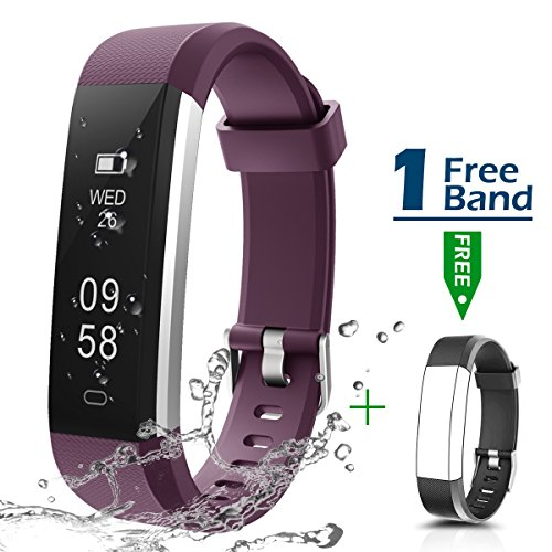Fitness Armbanduhr, CHEREEKI Fitness Tracker Smartwatch Wasserdicht IP67 Aktivitätstracker Schrittzähler Armbanduhr Schlafanalyse Kalorienzähler Anruf/ SMS Kompatibel mit iPhone und Android (Lila)