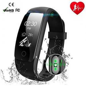 Fitness Armband mit Herzfrequenz,MUXI Fitness Tracker Pulsuhr Aktivitätstracker mit Schlafüberwachung,IP67 Wasserdicht Bluetooth Fitness uhr mit GPS Schrittzähler Kalorienzähler für Android und iOS