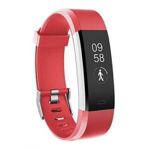 Fitness Armbanduhr, TOOBUR Wasserdicht Fitness Tracker mit Herzfrequenz Schrittzähler Schlafmonitor und Kalorienzähler, Aktivitätstracker Armband Uhr für Damen Frauen Kinder (Rot)