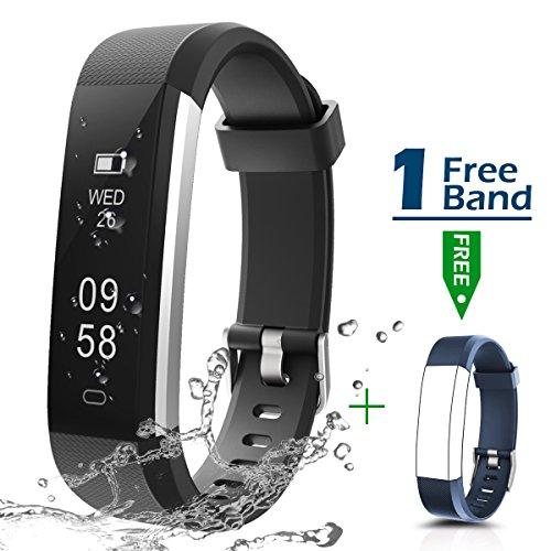 Fitness Armbanduhr, CHEREEKI Fitness Tracker Smartwatch Wasserdicht IP67 Aktivitätstracker Schrittzähler Armbanduhr Schlafanalyse Kalorienzähler Anruf/ SMS Kompatibel mit iPhone und Android (Schwarz)