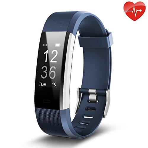 Fitness Tracker,Juboury Smart Bracelet mit Pulsmesser Herzfrequenzmesser,Aktivitätstracker,Schrittzähler,SchlafMonitor,Treppen Zähler,Kalorienzähler Fitness Uhr für Android und IOS Smartphones(Blau)
