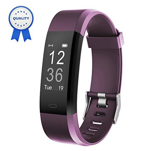 Fitness Armband HolyHigh YG3 Plus HR Pulsuhr Aktivitätstracker mit Herzfrequenz Monitor/wasserdichter /Schrittzähler/Anrufbenachrichtigungen/Ruhemodus/Kamerabedienung für Android und iOS (Violett)