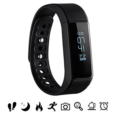 Bluetooth Fitness Tracker, OMorc Sport Armband I5 Plus SmartWatch OLED Uhr Aktivitätstracker smart bracelet mit Schlafmonitor, Schrittzähler, Kalorienzähler, SMS Anrufe Reminder-Schwarz