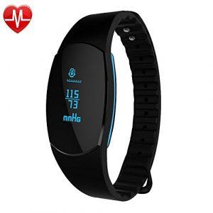 Fitness Tracker Pulsmesser Wasserdicht GanRiver Blutdruckmessung Herzfrequenz Schrittzähler Kalorienmonitor Sport Armband Erinnerung Smart Uhr Push-Message und Anrufer für iPhone und Android Handy