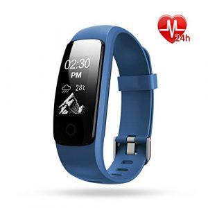 Fitness Armband Pulsmesser Lintelek Fitness Tracker mit GPS Bluetooth Pedometer Schrittzähler Wecker Uhrzeit Kamera Stoppuhr Smart Watch IP67 Wasserdicht Fitness Uhr 0.96 OLED groß Touchscreen