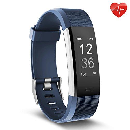 Herzfrequenz-Monitor, moreFit Slim HR Plus wasserdicht Fitness Aktivitäts-Tracker tragbares Smart Armband, Blau
