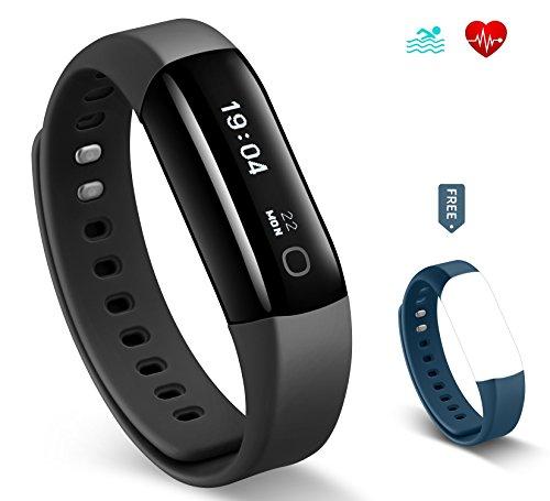 Fitness Armband HolyHigh Vigorun 4 Herzfrequenzmessgerät / Aktivitätsaufzeichner mit IP68 schwimmen wasserfest /Schrittzähler /lange Akkulaufzeit /Schlafaufzeichnung/Wecker /Uhr für Android und iOS
