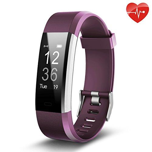 Fitness Tracker,Juboury Smart Bracelet mit Pulsmesser Herzfrequenzmesser,Aktivitätstracker,Schrittzähler,SchlafMonitor,Treppen Zähler,Kalorienzähler Fitness Uhr für Android und IOS Smartphones(Violett)