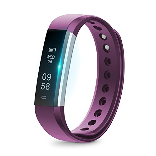 Fitness Armband mit Schrittzähler - Fitness Tracker mit Schlafüberwachung Bluetooth IP67 Wasserdichte Fitness Watch, Smart Watch für Android und iOS Smartphones (Silber+Violett)