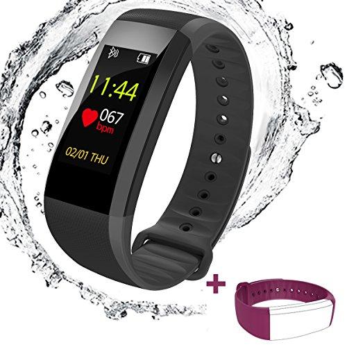Spohot Fitness Armbänder mit Pulsmesser,Smart Fitness Tracker mit Herzfrequenzmesser, Schrittzähler, Schlaf-Monitor, Aktivitätstracker,Anrufen / SMS, mit Farbtechnologie finden Telefon für Android iOS