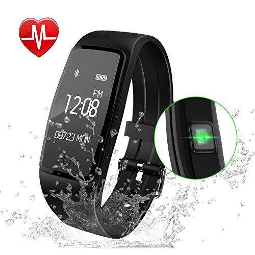 Fitness Armband,GULAKI Pulsmesser Uhr Bluetooth 4,0 Fitness Tracker Mit Herzfrequenz,Fitness Uhr,Fitness Uhren, Aktivitätstracker, Remote Shoot, Anrufen / SMS, finden Telefon für Android iOS Smartphon (Black)