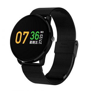 TPulling Mode Fitness Tracker Blutdruck Pulsmesser Aktivität Smart Armband des Blutdruckes Herzfrequenz Tracker Smart Watch Wasserdichte Fitness Armband Sport mit Android iOS Leder (Schwarz)
