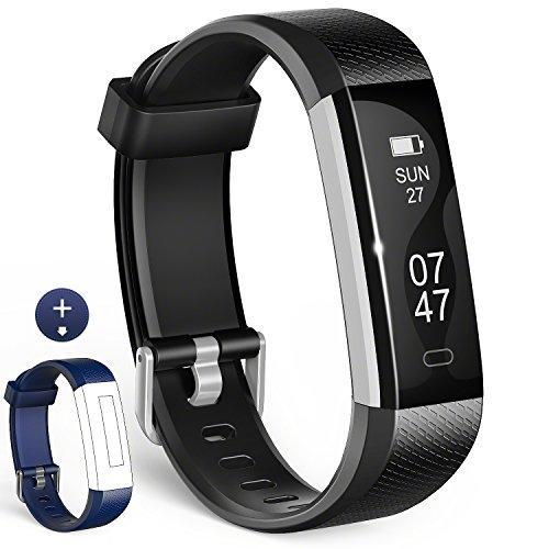 Fitness Tracker, Wesoo Fitness Armbänder mit Ersatzband, Schrittzähler Armband mit Schlafmonitor Kalorienzähler Wecker Anruf SMS Whatsapp Beachten für iOS Android Smartphone (Schwarz/Blau Bänder)