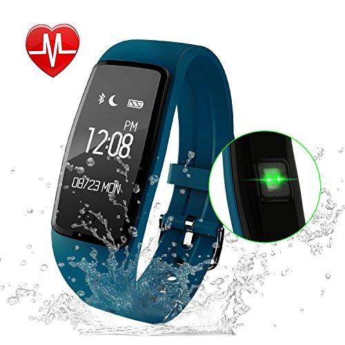 Fitness Armband,GULAKI Pulsmesser Uhr Bluetooth 4,0 Fitness Tracker Mit Herzfrequenz,Fitness Uhr,Fitness Uhren, Aktivitätstracker, Remote Shoot, Anrufen / SMS, finden Telefon für Android iOS Smartphon (Blue)