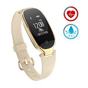 Smart Armband ZKCREATION Bluetooth Fitness-Tracker K3 Intelligente Uhr Herzfrequenz-Überwachung Schlafüberwachung Informationen erhalten IP67 wasserdicht Kompatibel mit Android und IOS(Gold)