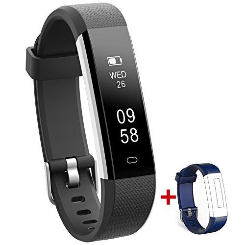 NAKOSITE RAY2433 Bester Fitness Trackers Schrittzähler Armband Uhr Aktivitäten Tracker Damen Herren Kinder, Kalorienzähler, Schlafüberwachung, Distanz, Stoppuhr, mit Lauf App von VeryFitPro. Verbindet sich NUR mit iPhone und Android Telefonen. Erfordert Bluetooth 4.0, für Android 4.4 oder IOS 7.1 und neuer. SMS, Anrufer ID, Alarm, Anti-Telefonverlust, Telefon Finden, Bilder Aufnehmen, SNS Benachrichtigungen, wie WhatsApp, Instagram, Facebook usw. Farbe Schwarz. Ersatz blaues Band