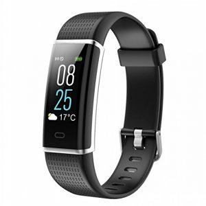 Fitness Armbanduhr, TOOBUR IP68 Wasserdicht Fitness Tracker mit Herzfrequenz Schrittzähler Schlafmonitor und Kalorienzähler, Aktivitätstracker Armband Uhr für Damen Herren und Kinder (Schwarz)