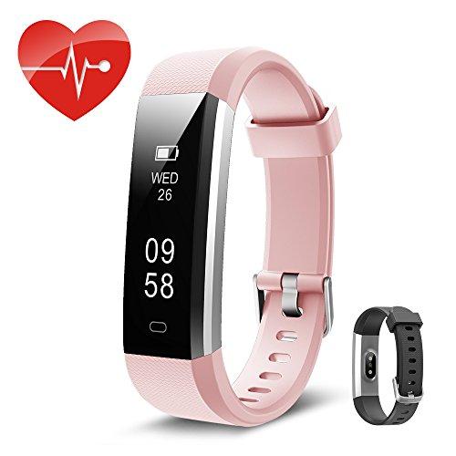Fitness tracker mit herzfrequenz Kingsky Fitness armband mit Pulsmesser Wasserdicht IP67 Aktivitätstracker Pulsuhren Bluetooth Smart ArmbandUhr Schrittzähler damen mit GPS,Schlafüberwachung,Alarm, Kalorienzähler und Kamera für Android und iOS (Rosa)