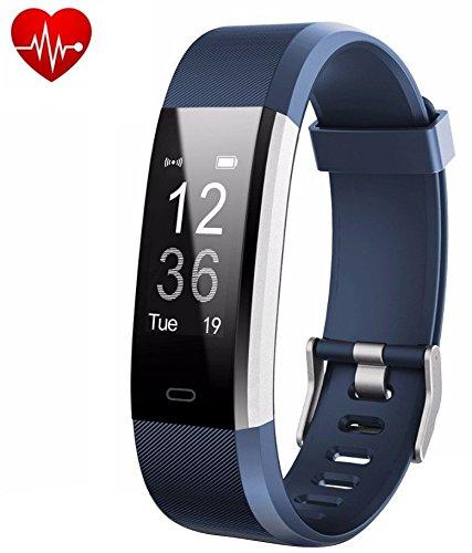 Fitness Trackers Fit Uhren Schrittzähler Pulsuhren, Fitness Armbanduhr, Fitness Armbänder Aktivitätstracker mit Herzfrequenzmonitor, IP67 Wasserdicht Smartwatch, Schlafmonitor Schlafanalyse Kalorienzähler für Android und iOS, Blau