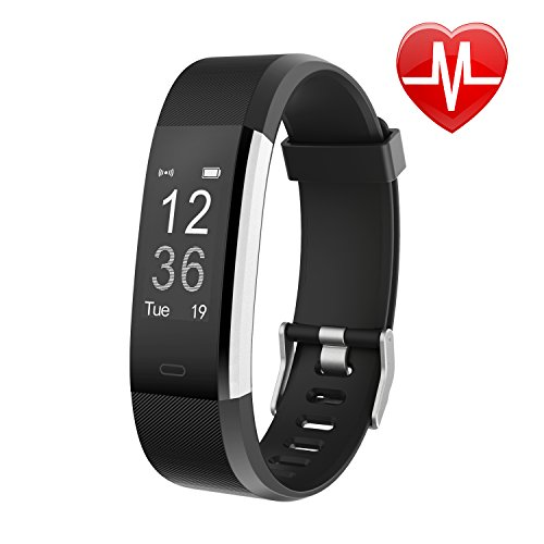 Letsfit Schrittzähler Uhr, Fitness Tracker mit Pulsmesser Schlaf-Monitor Wasserabweisend in Versch. Farben, Schwarz