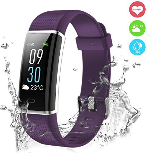 Fitness Armband Uhr mit Herzfrequenz,Chianruey Farbdisplay Fitness Tracker mit Pulsmesser,Aktivitätstracker mit Schlafüberwachung,Wasserdicht IP68 Fitness fitnessuhr mit Schrittzähler,Bluetooth Kalorienzähler Vibrationsalarm Anruf SMS Whatsapp für Damen/Herren
