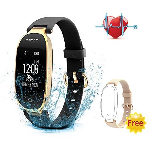 SAVFY Fitness Tracker mit Herzfrequenz Damen für Damen Bluetooth 4.0 Herzfrequenz Fitness Armbänder für Damen Aktivitätstracker für Android und iOS