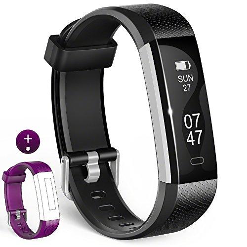 Wesoo Fitness Tracker, K1 Fitness Armbänder mit Ersatzband, Schrittzähler Armband mit Schlafmonitor Kalorienzähler Wecker Anruf SMS Whatsapp Beachten für iOS Android Smartphone (Schwarz/Lila Bänder)