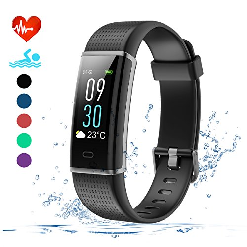 EFO SHM Fitness Tracker mit Pulsmesser, Schrittzähler Uhr Fitness Armband Wasserdicht Schwimmen Aktivitätstracker Schlafanalyse Kalorienzähler Anruf/SMS Kompatibel mit iPhone und Android(Schwarz)