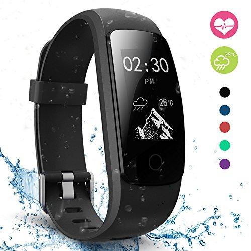moreFit Slim Touch Wasserdicht Fitness Tracker Mit Herzfrequenz,Smart Fitness Armbanduhr Pulsuhr Schrittzähler,Bluetooth Schwimmen Activity Tracker Gps Für Damen/Herren,Schwarz