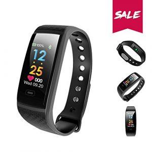 TEZER Fitness Armband Uhr mit Pulsmesser,Wasserdicht IP67 Fitness Tracker Aktivitätstracker Pulsuhren Bluetooth Smart ArmbandUhr Schrittzähler mit Schlafmonitor Kalorienzähler Vibrationsalarm Anruf SMS Beachten kompatibel mit iPhone Android Handy (schwarz)