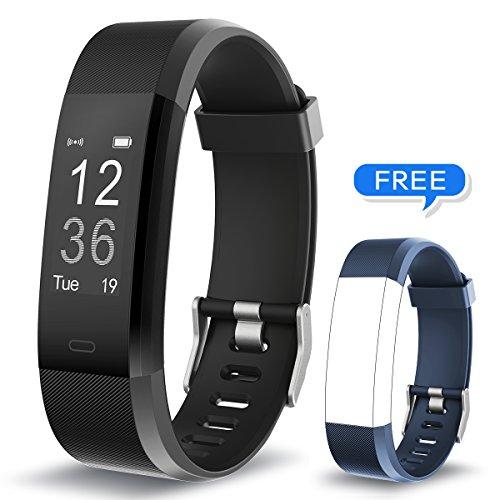 Muzili Fitness Armband YG3 Plus Fitness Tracker Sport Uhr Aktivitätstracker Schrittzähler mit Herzfrequenz Monitor/Kalorien Zähler/Schlafmonitor/Musik-Steuerung für Andriod und IOS (BK+Blue strap)