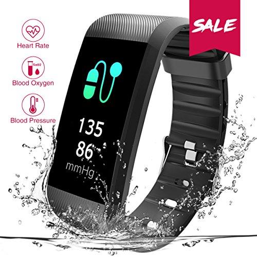 Fitness Armbanduhr, CHEREEKI Fitness Tracker Smartwatch Wasserdicht IP67 Aktivitätstracker Schrittzähler Armbanduhr Schlafanalyse Kalorienzähler Anruf/ SMS Kompatibel Aktivitätstracker Bluetooth mit iPhone und Android (Schwarz)
