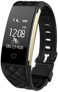 Fitness Armbänder mit Pulsmesser Semaco Fitness Tracker mit Herzfrequenzmesser, Schrittzähler, Schlaf-Monitor, Aktivitätstracker, Remote Shoot, Anrufen / SMS, finden Telefon für Android iOS Smartphone (Schwarz)