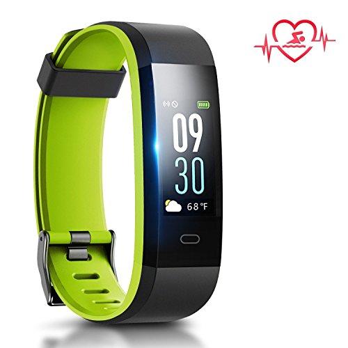 Fitness Armband Uhr mit Herzfrequenz,Chianruey Farbdisplay Fitness Tracker mit Pulsmesser,Aktivitätstracker mit Schlafüberwachung,Wasserdicht IP68 Fitness fitnessuhr mit Schrittzähler,Bluetooth Kalorienzähler Vibrationsalarm Anruf SMS Whatsapp für Damen/Herren (Schwarz/Grün)