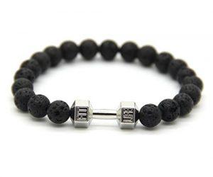 GOOD.designs Hantel Armband aus echten Natursteinperlen, Herren Crossfit Perlenarmband (Lava – Silber)
