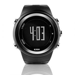 EZON T023 Herren Digital Sportuhren Outdoor Laufen Armbanduhr mit Alarm Stoppuhr Pedometer Kalorienzähler (Schwarz)