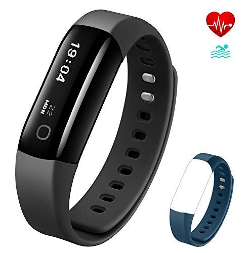 Fitness Armband Vigorun 4 Fitness Tracker Echtzeit-Herzfrequenz-Überwachung IP68 wasserfestes Schrittzähler Schlafüberwachung Tägliche Benachrichtigung Intelligent Armband für Android&iOS