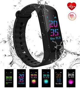 Fitness Tracker, F40C4TMP Fitness Armband Uhr WasserdichtIP67 Bluetooth Smartwatch Armbanduhr mit Schrittzähler Pulsmesser Aktivitätstracker Kalorienzähler GPS Schlafmonitor Anruf SMS Whatsapp Beachten USB Anschlusskompatibel mit iPhone Android Smartphone für Damen, Herren, Kinder (Schwarz)