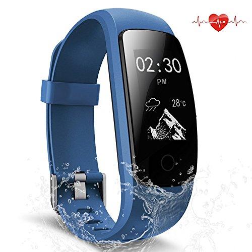 Scofit Fitness Tracker wasserdichte Aktivitätstracker, Smart Watch Bracelet mit Pulsmesser Herzfrequenzmesser, Schrittzähler, Schlaf Monitor, Kalorienzähler Fitness Uhr für Android und IOS Smartphones (Blue)