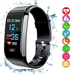 Fitness Tracker HR, Smartes Armband Aktivitäts-Tracker mit Schrittzähler, Farbdisplay, Blutdruck- und  Herzfrequenzmonitor, Schlafmonitor – GPS-Routentracker, wasserdicht IP67für Android/iOS-Smartphones – für Erwachsene und  Kinder, Schwarz , Schwarz