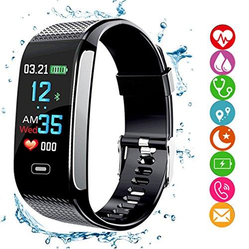 Fitness Tracker HR, Smartes Armband Aktivitäts-Tracker mit Schrittzähler, Farbdisplay, Blutdruck- und  Herzfrequenzmonitor, Schlafmonitor - GPS-Routentracker, wasserdicht IP67für Android/iOS-Smartphones - für Erwachsene und  Kinder, Schwarz , Schwarz