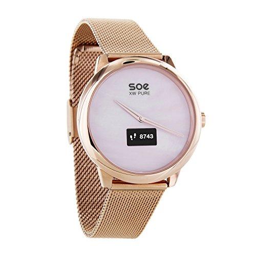 X-WATCH SOE XW PURE │ Damen Smartwatch Schrittzähler Hybrid Smartwatch mit Analoguhr und Touch-Display Fitness Tracker für Android und iOS