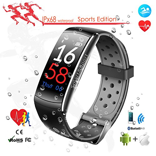 Bluetooth Smart Fitness Tracker Schrittzähler Wasserdicht mit Pulsmesser / Blutdruckmessung, Electronics Sport Pedometer Very Fit Pro für Herren Damen, Aktivitätstracker mit Touchscreen OLED Display Kompatibel für iOS / Android Handy von XiangWeiYu(Black and Grey)