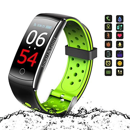 Fitness Tracker, Vivicool Aktivitätstracker Farbbildschirm Blutdruck wasserdicht Fitness Armband, Point Touch Smart Bracelet Pulsmesser Kalorienzähler Schrittzähler Schlafmonitor Sport Armband SMS Anrufe Reminder für iOS und Android - Fitness Armbanduhr