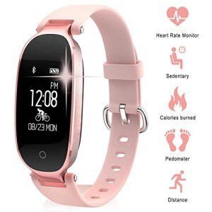 TechCode Multifunktions Fitness Tracker Uhr, Bluetooth Wasserdichte S3 Smart Uhr Mode Frauen Damen Pulsmesser Fitness Tracker Smart Uhr Für Android IOS (Roségold)