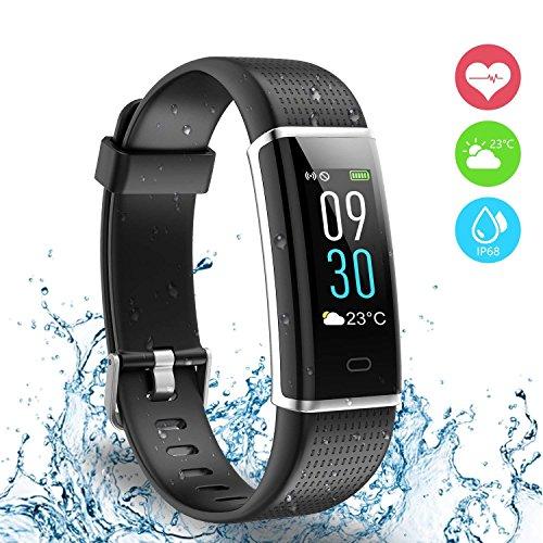 Fitness Tracker, Ausun 130 Plus Farbe Touchscreen Schrittzähler Uhr, TFT LCD Einstellbare Helligkeit Aktivitäts-Tracker mit Pulsmesser, IP68 Wasserdicht GPS Smart Armband mit 14 Trainingsmodi für iOS & Android, Schwarz