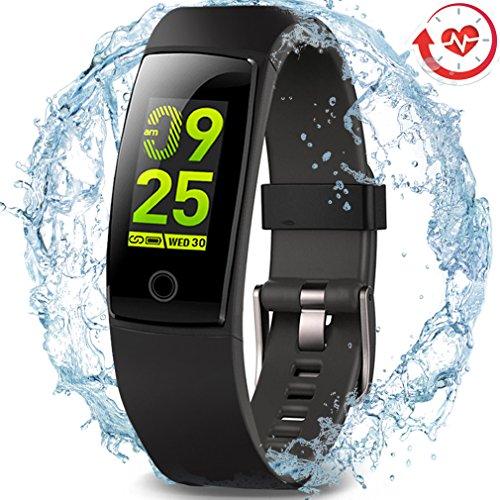Wasserdichter Aktivitäts-Tracker, MorePro Farbdisplay Fitness Tracker mit Herzfrequenz-Blutdruckmessgerät, Schwimmen Smart Armband Pedometer Uhr mit Schlaf-Monitor für Frauen Männer Kinder