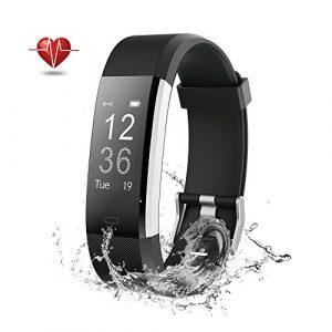 Fitness Tracker GPS Herzfrequenz – Wisenovo Fitness Tracker Uhr mit Pulsmesser, IP67 Wasserdicht Aktivitätstracker Smart Watch für Damen Herren – Bluetooth Smart ArmbandUhr Schrittzähler mit Schlafmonitor Kalorienzähler Anruf SMS Kompatibel mit iOS Android Handy-Schwarz