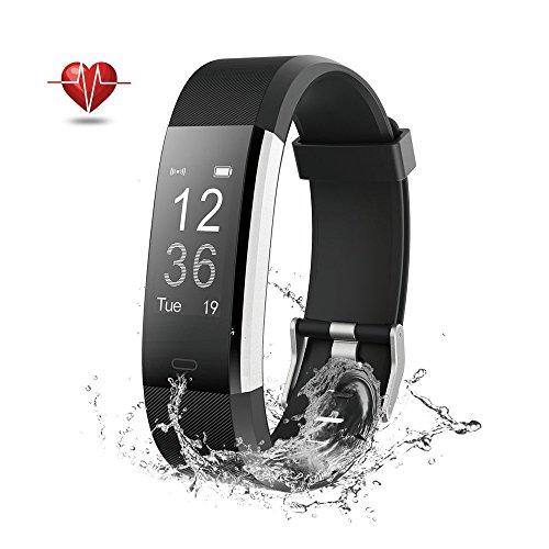 Fitness Tracker GPS Herzfrequenz - Wisenovo Fitness Tracker Uhr mit Pulsmesser, IP67 Wasserdicht Aktivitätstracker Smart Watch für Damen Herren - Bluetooth Smart ArmbandUhr Schrittzähler mit Schlafmonitor Kalorienzähler Anruf SMS Kompatibel mit iOS Android Handy-Schwarz